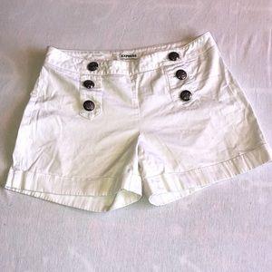 Express white button down sailor shorts size 0